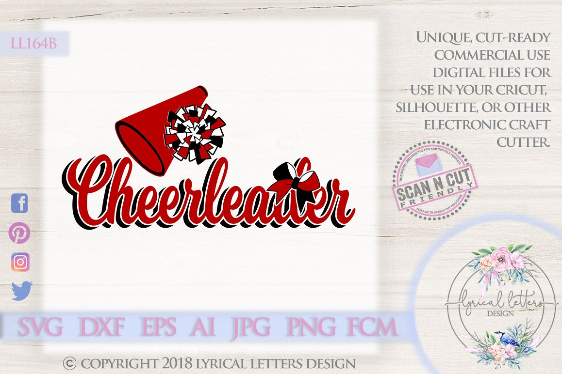Cheerleader with Pom Pom SVG DXF Cut File LL164B example image 1