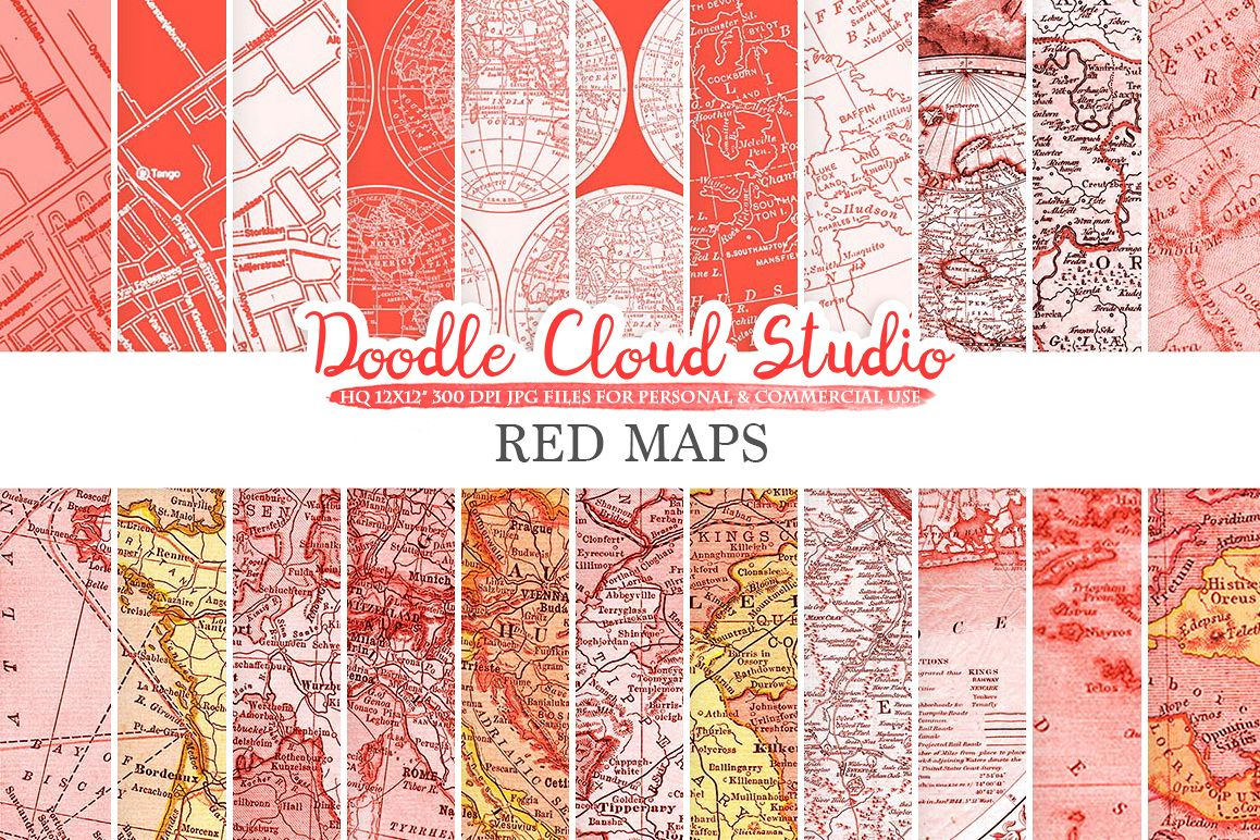 Red Vintage Maps digital paper, Old World Map, City, Nautical, Geographic Scarlet Map textures, Instant Download, Personal & Commercial Use example image 1