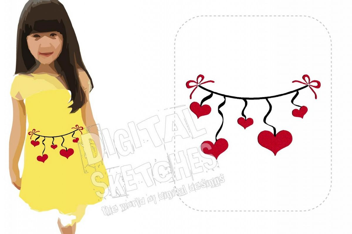 Heart Line Love Machine Embroidery Design 3 Sizes example image 1