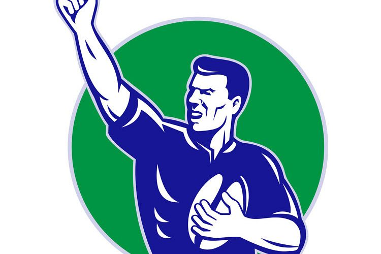 rugby player with ball pumping fist example image 1