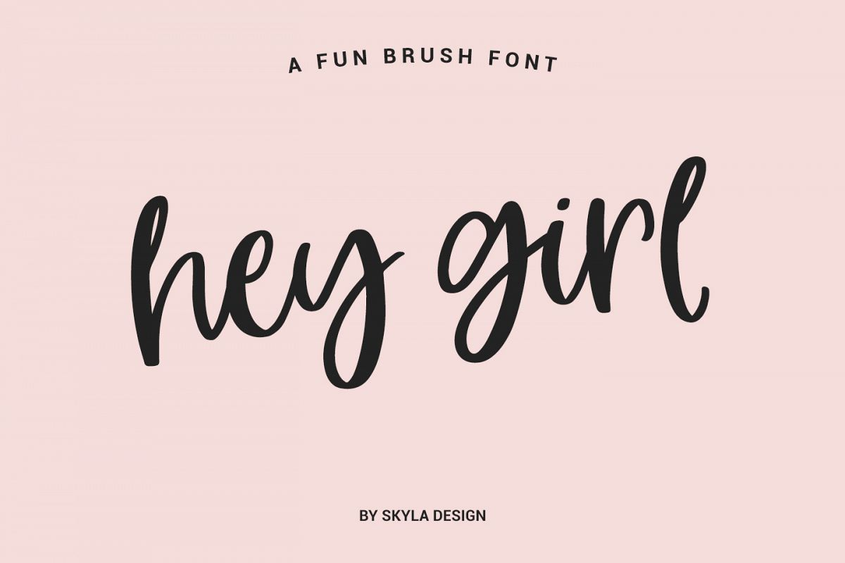 Hey Girl modern brush calligraphy font example image