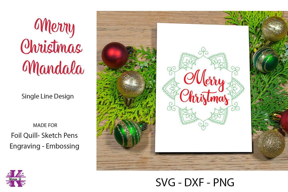 Merry Christmas Mandala SVG Cut File example image 1