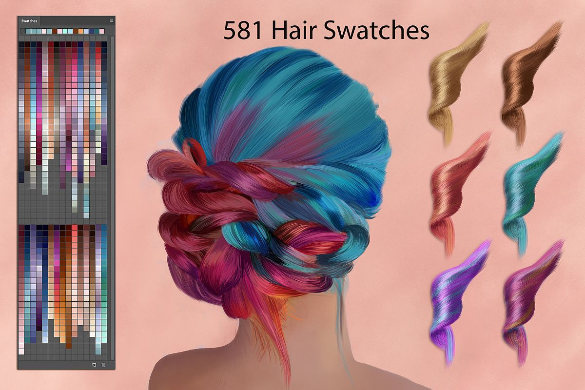 Hair Ps Swatches for Digital Painting example image 1