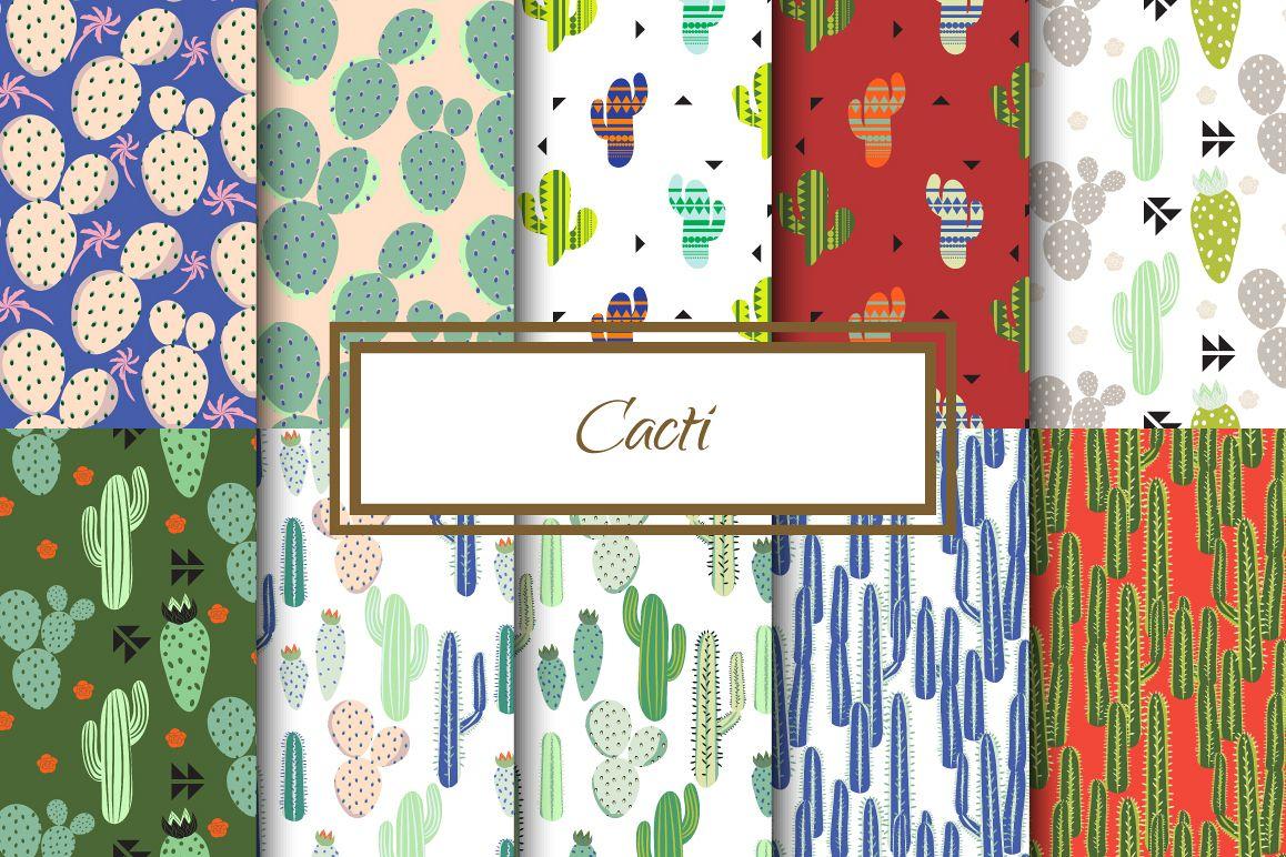 Cacti Seamless Patterns example image 1