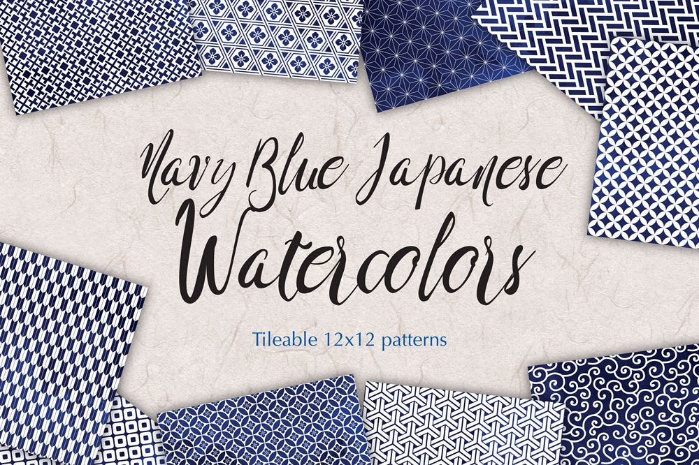 Navy Blue Digital Paper Japanese Background Patterns example image 1