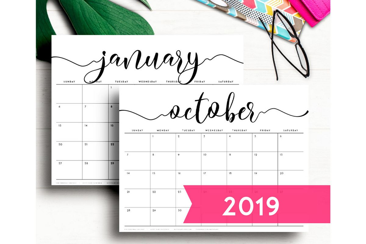 2019 Printable Desk Calendar Monthly Planner