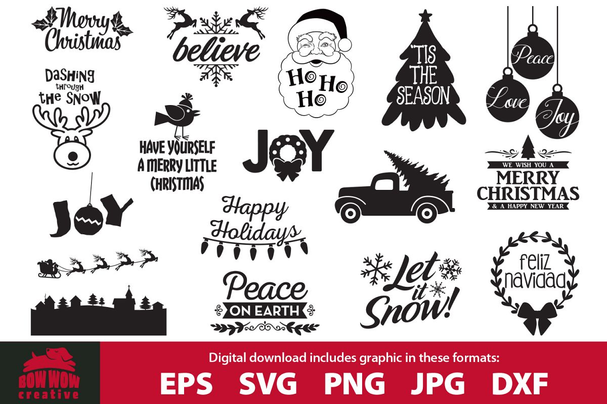 Christmas Quotes Svg.Christmas Quotes Bundle Svg Eps Jpg Png Dxf Files