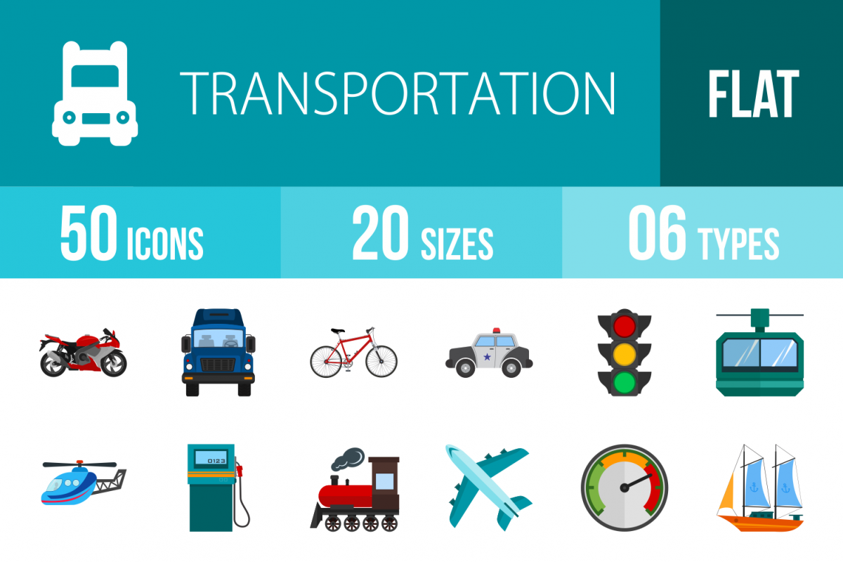 50 Transportation Flat Multicolor Icons example image 1