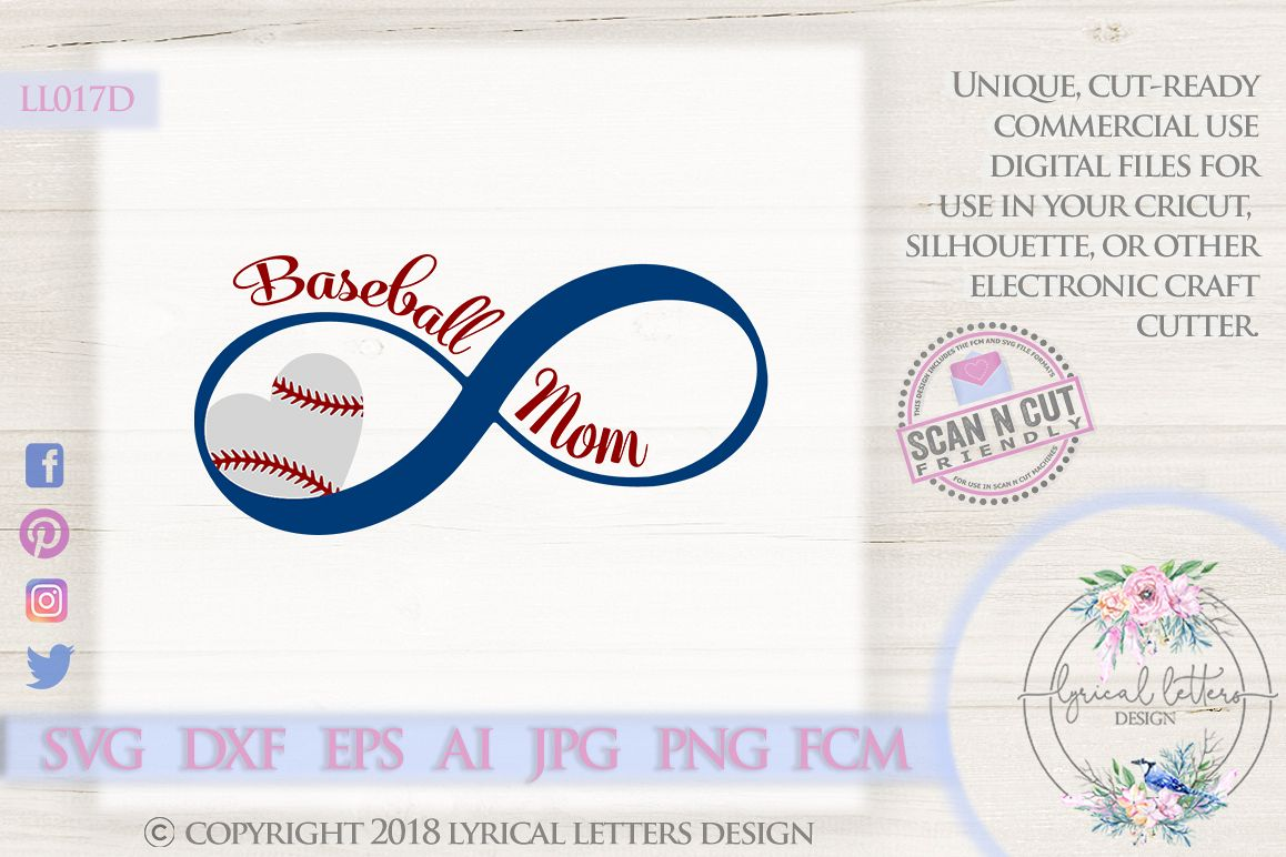 Baseball Mom with Baseball Infinity SVG DXF Cut File LL017D example image 1