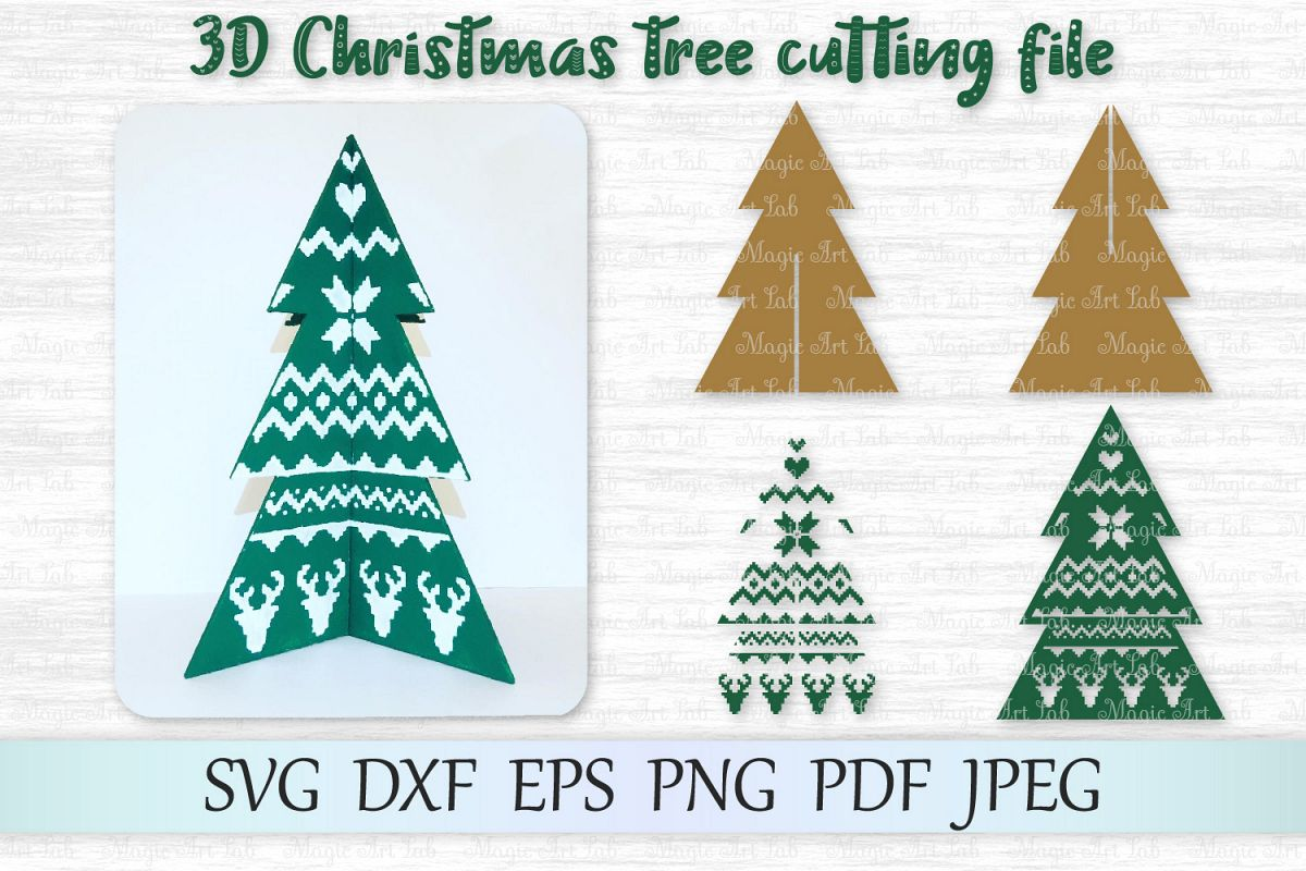 3D Christmas tree svg, 3D Christmas tree template, Tree svg example image 1