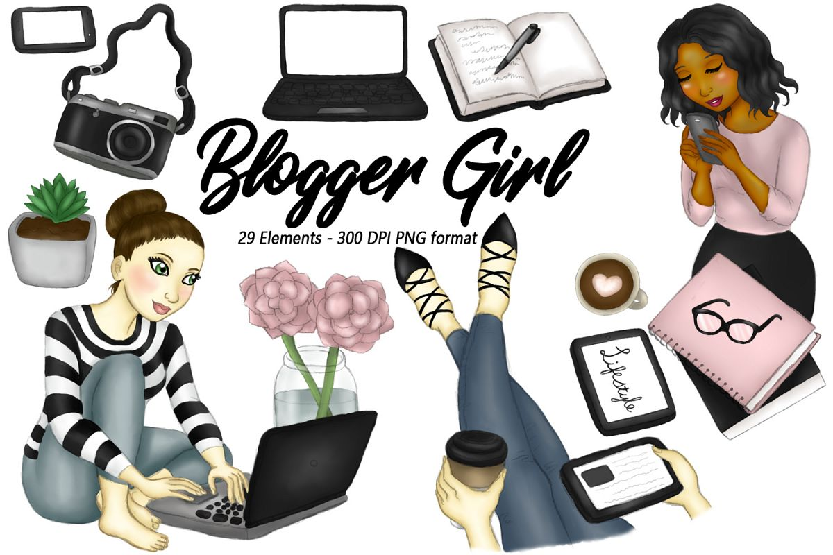 Blogger Girl Clipart, Girl Boss Fashion Illustrations example image 1