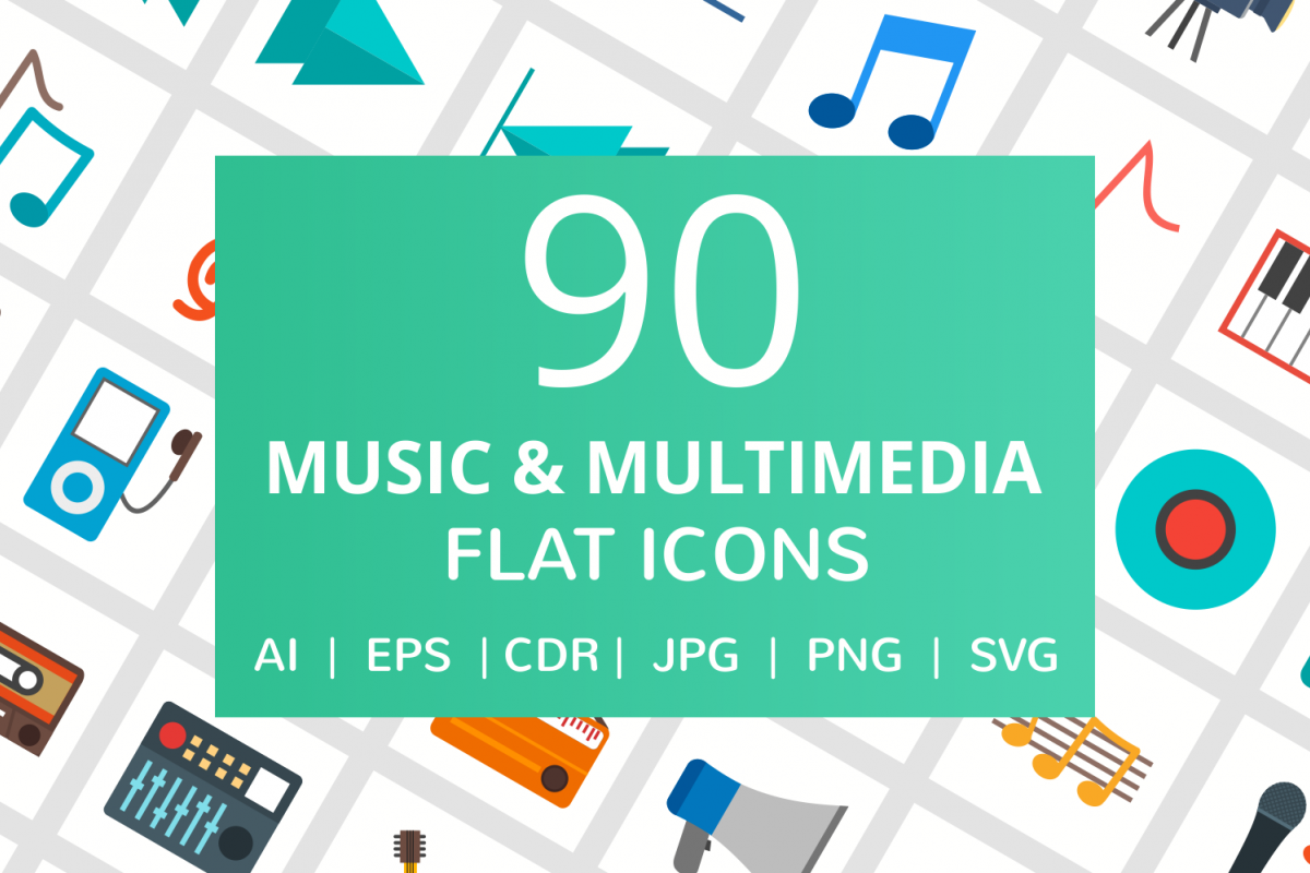90 Music & Multimedia Flat Icons example image 1