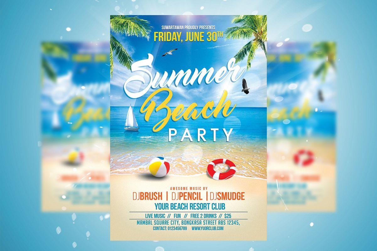 summer beach party flyer by suwartawan design bundles