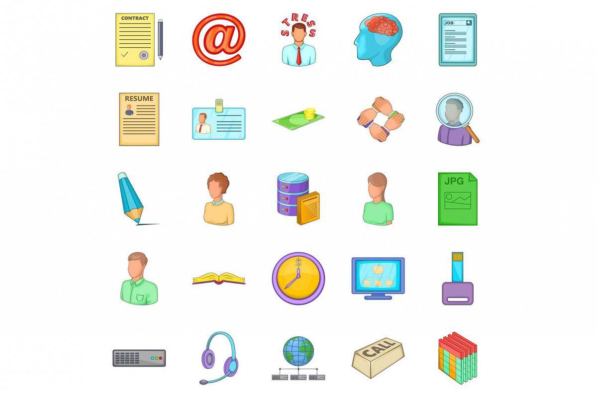 Order icons set, cartoon style example image 1