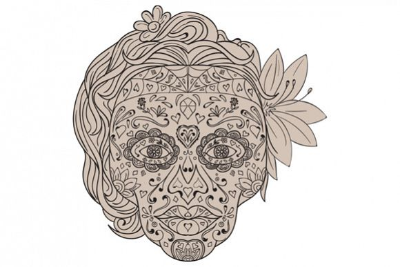 Female Sugar Skull Calavera Retro example image 1