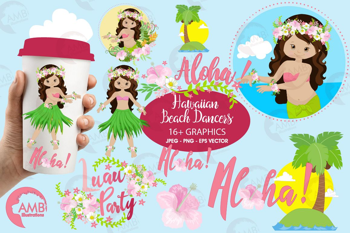 Hawaiian dancers, Luan party, clipart, graphics, illustrations AMB-1411 example image 1