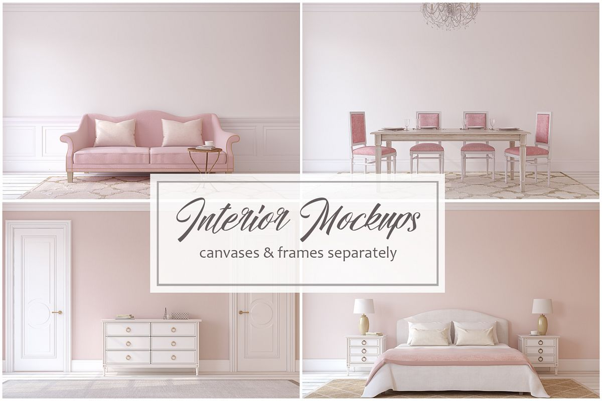 Pink Interiors. Frames&Canvases Mockup. example image 1