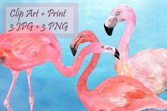 Watercolor Flamingoes Clip Art+Print example image 1