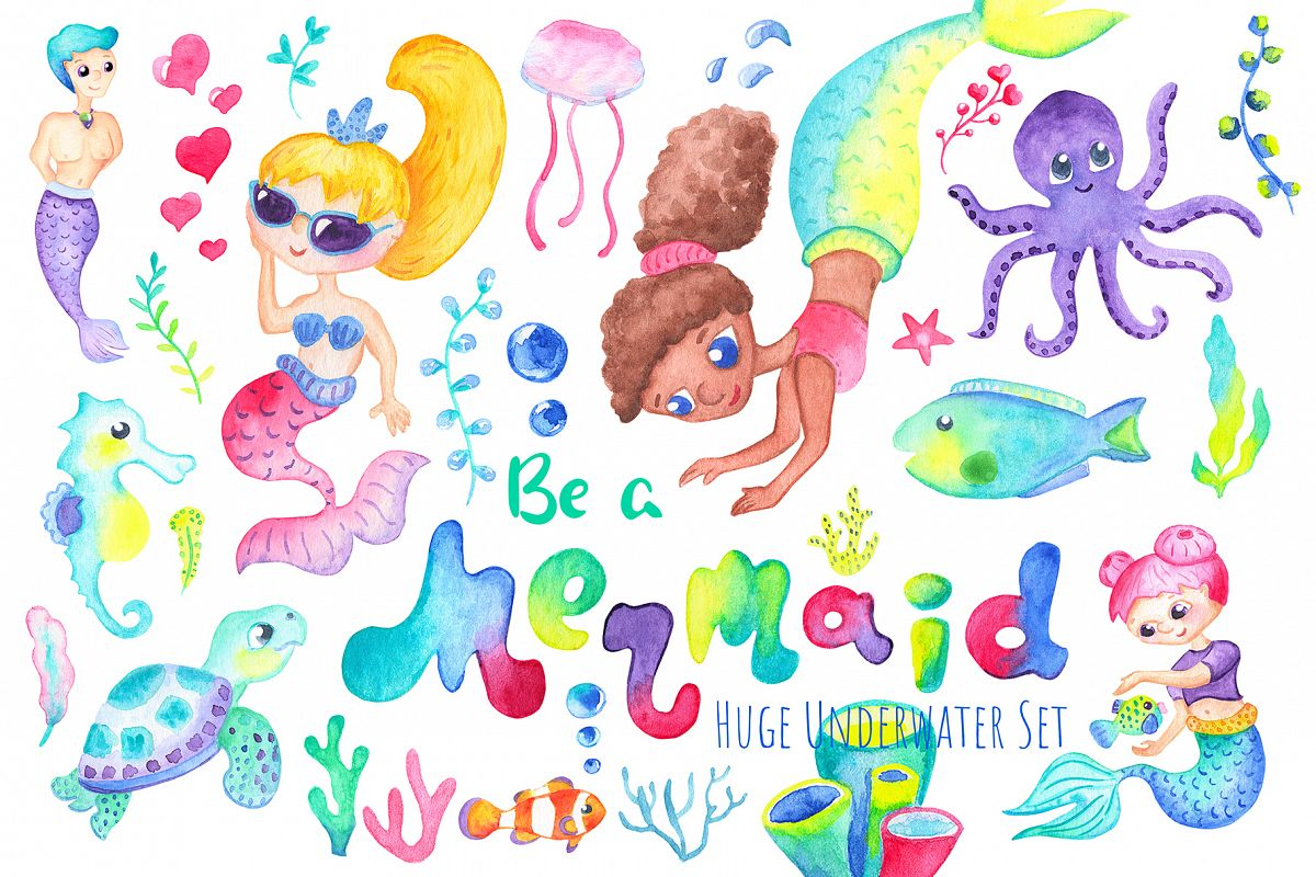 Be A Mermaid Watercolor Clipart example image 1