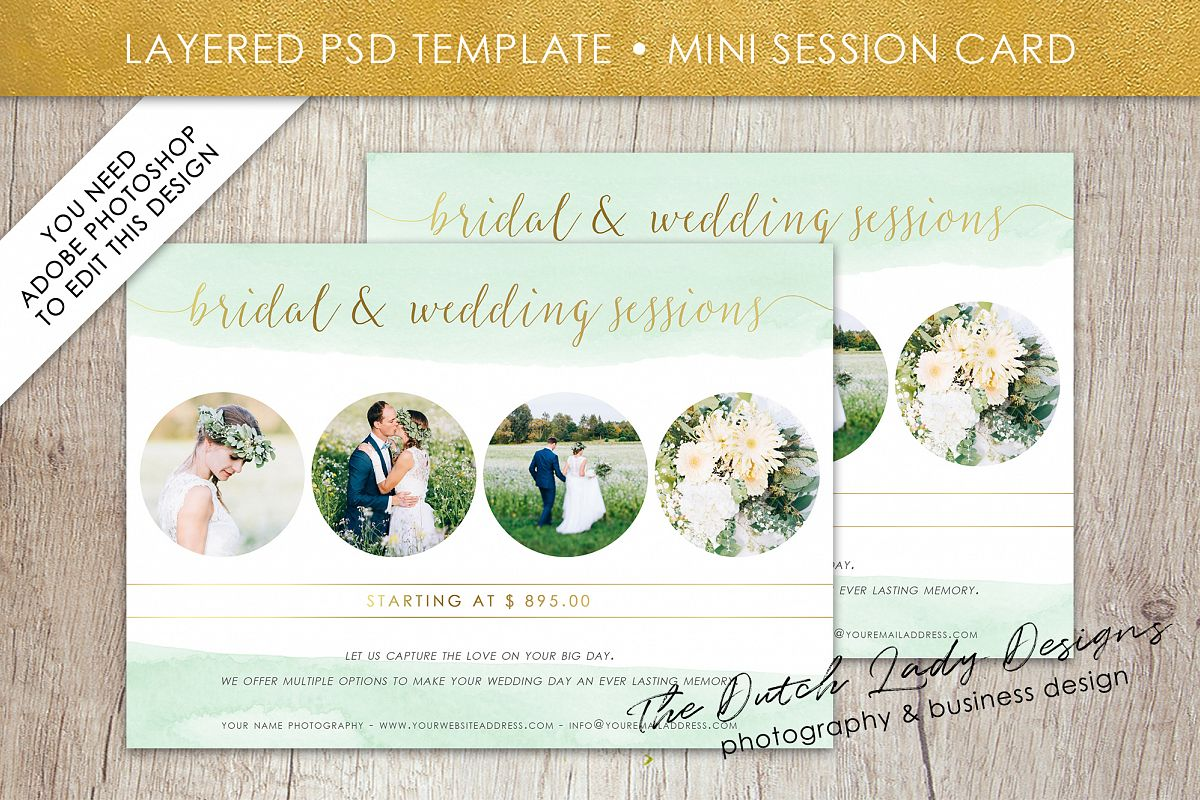 PSD Wedding Photo Session Card Template - Design #34 example image 1