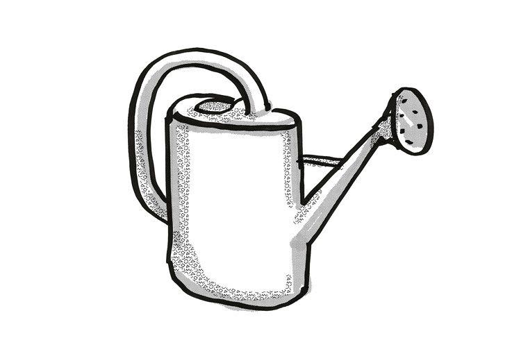 plastic watering can Garden Tool Cartoon Retro Drawing example image 1