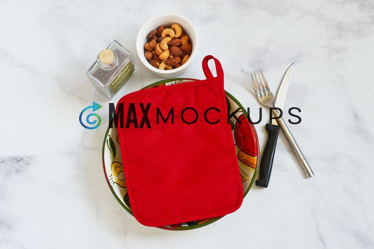 Red pocket kitchen potholder mockup, oven mitt hot pad example image 1