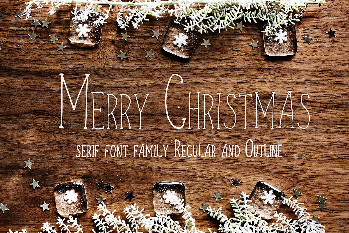 Merry Christmas display font and doodles example image 1