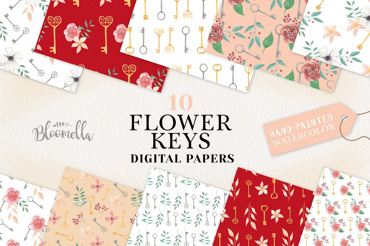 Flower Keys Seamless Patterns Digital Papers Foliage Floral example image 1