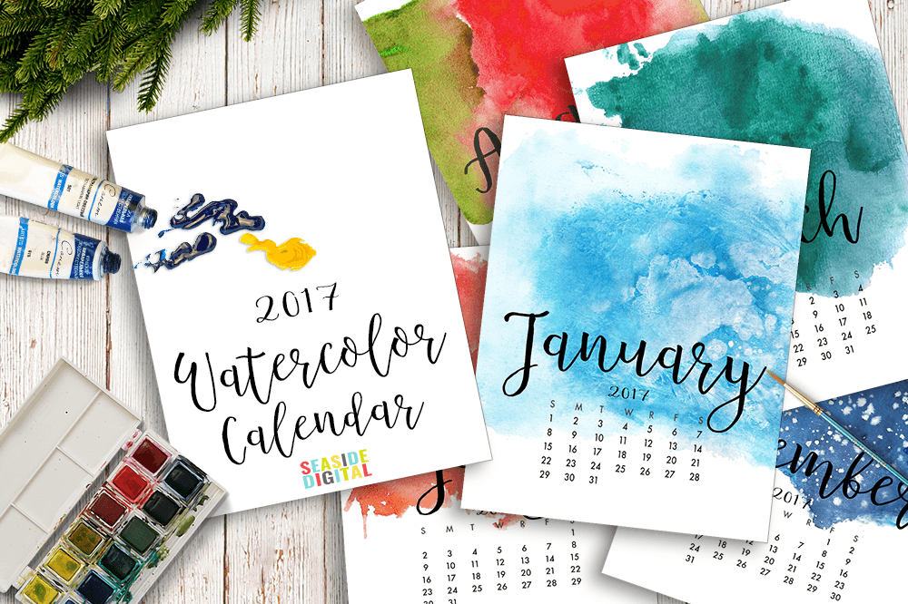 2017 Hand Paint Watercolor Calendar  example image 1