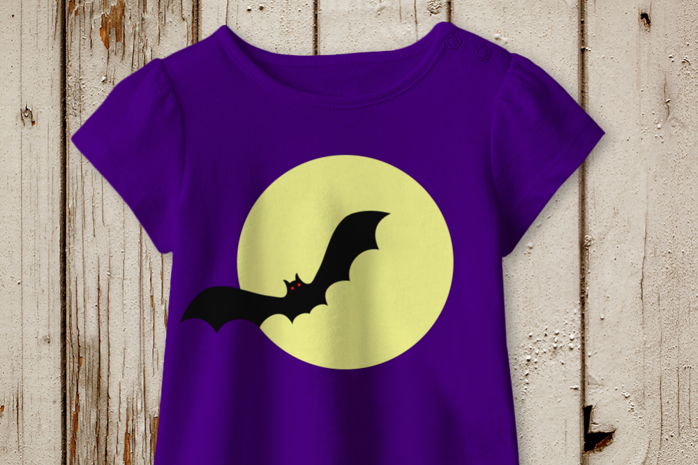 Halloween Vampire Bat on Moon SVG File Cutting Template example image 1