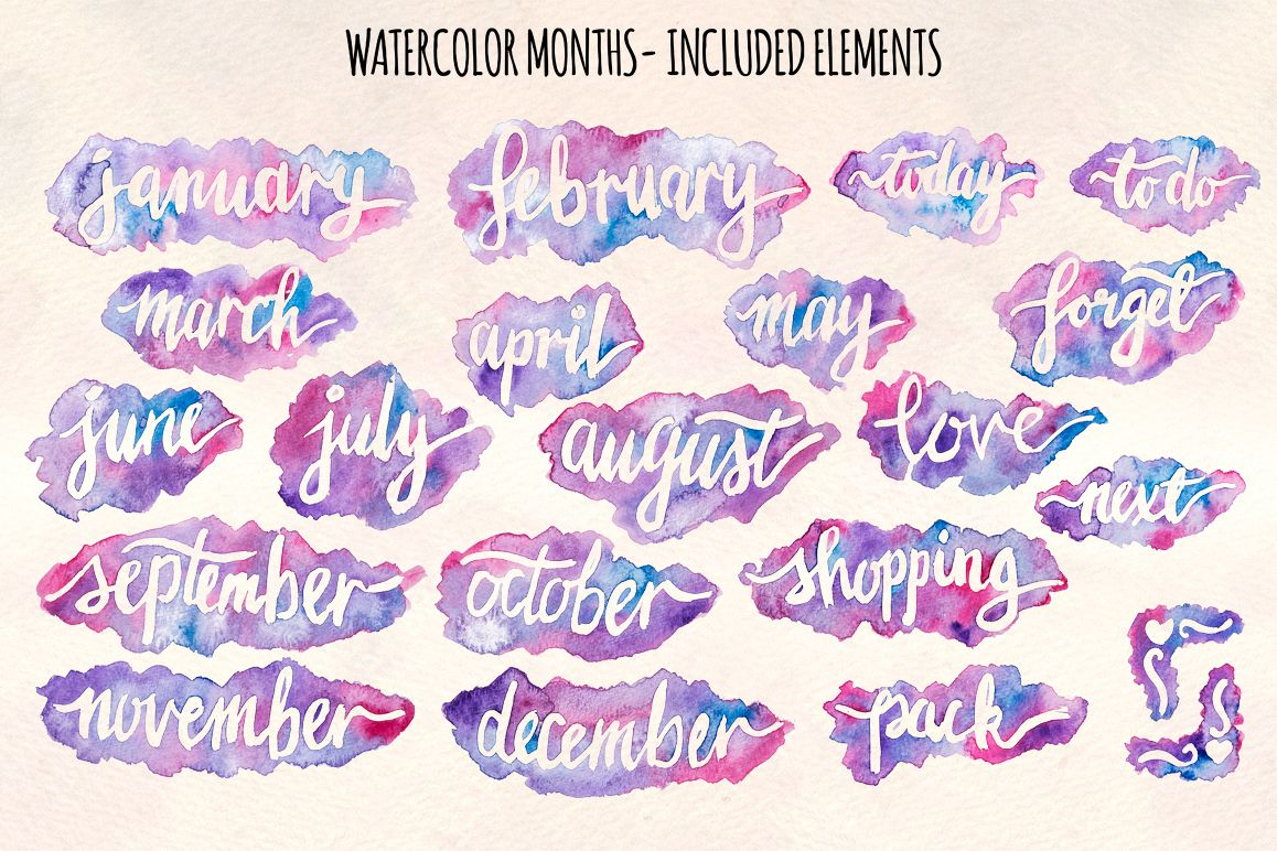21 Month Titles Watercolors Splash Graphics example image 1