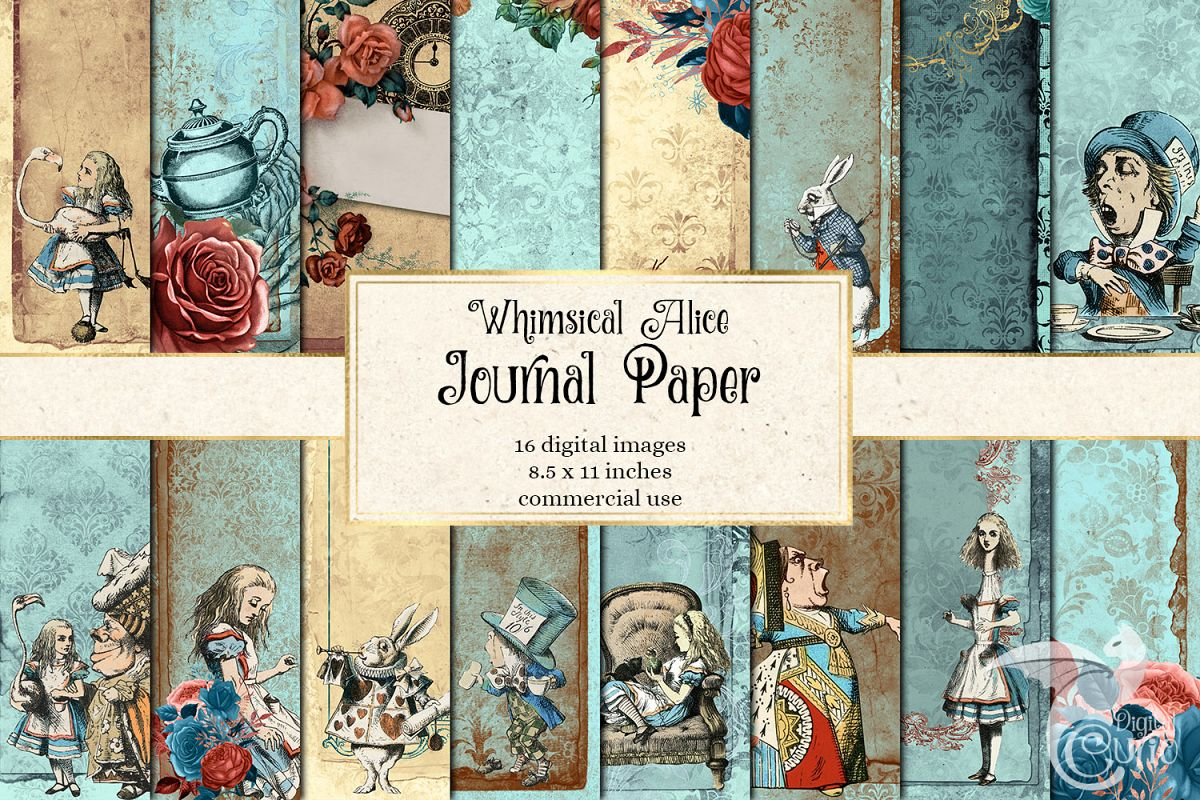 Whimsical Alice in Wonderland Journal Paper example image 1