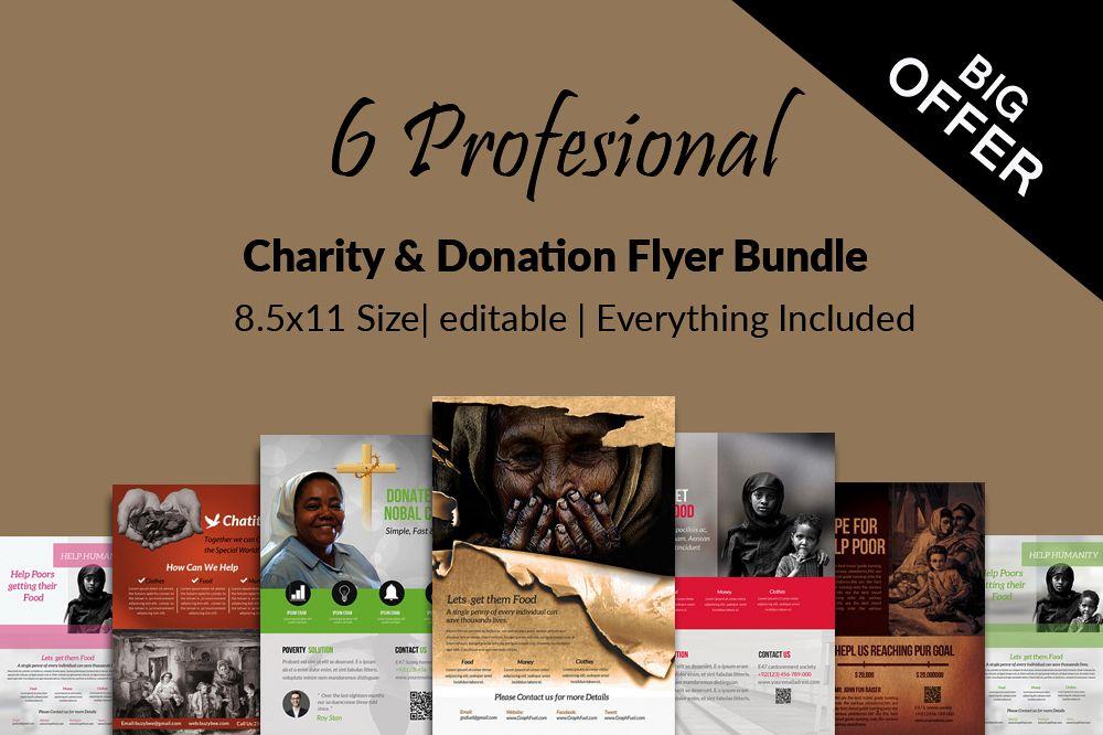 6 Charity & Donation Flyers Bundle example image 1