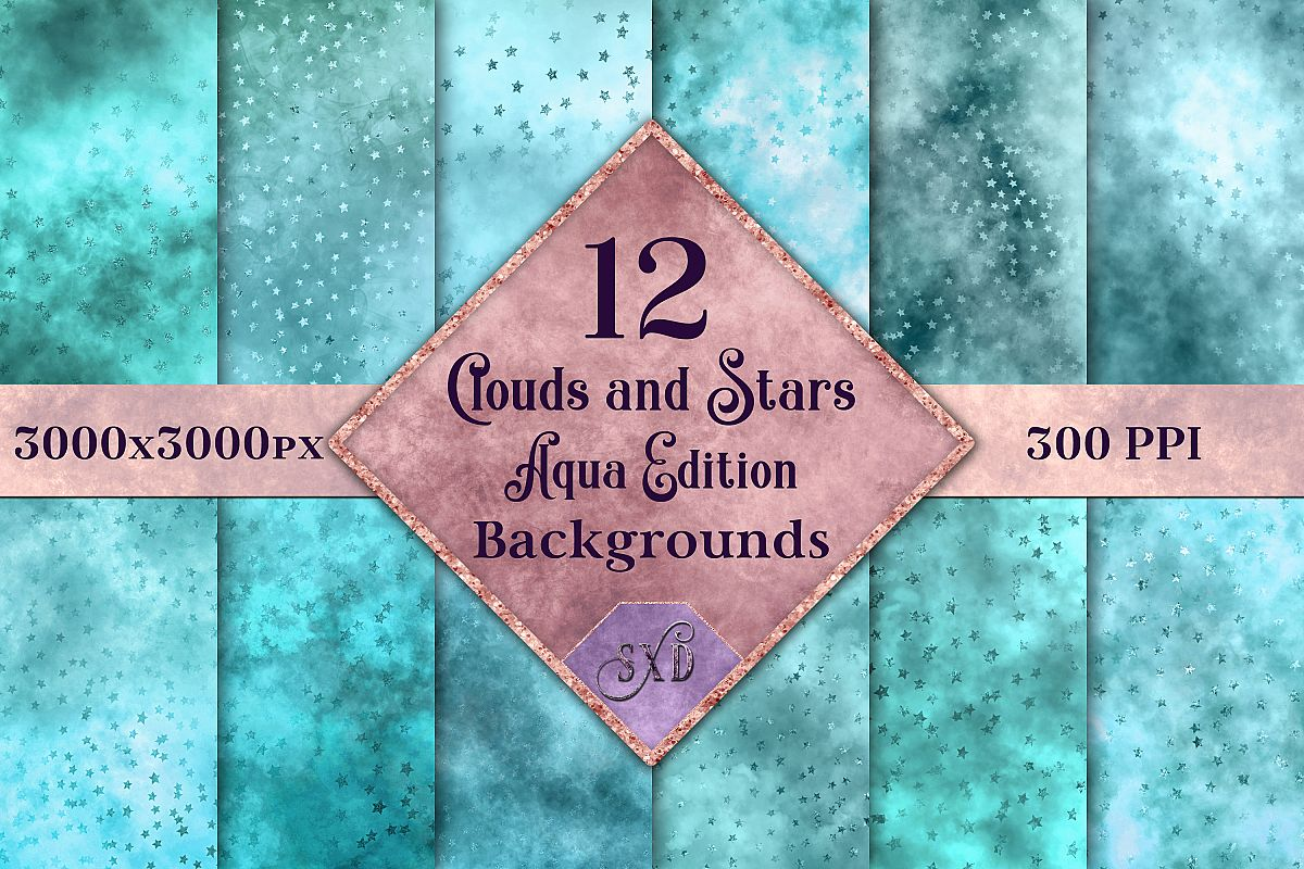 Clouds and Stars - Aqua Edition Backgrounds example image 1