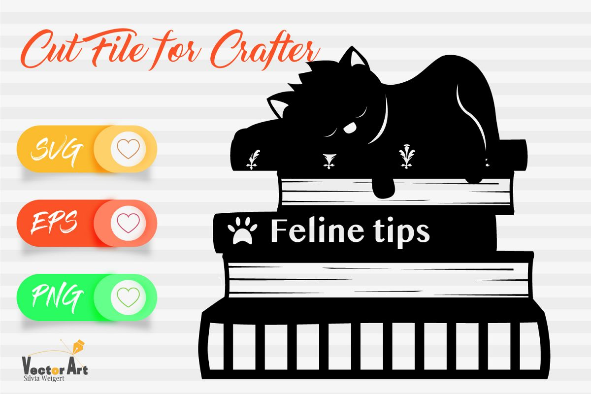 Cat is sleeping on Books - Cut file example image 1