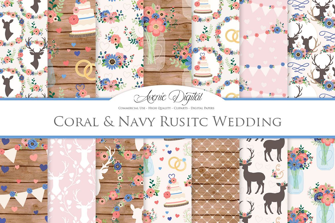 Coral and Navy Wedding Digital Paper - Navy and Pink Rustic Wedding Deer Seamless Patterns example image 1
