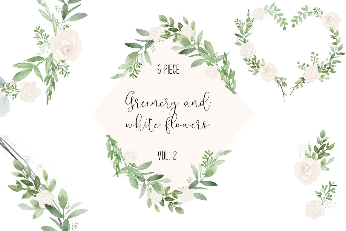 Greenery And White Wedding Watercolor Clip Art Example Image