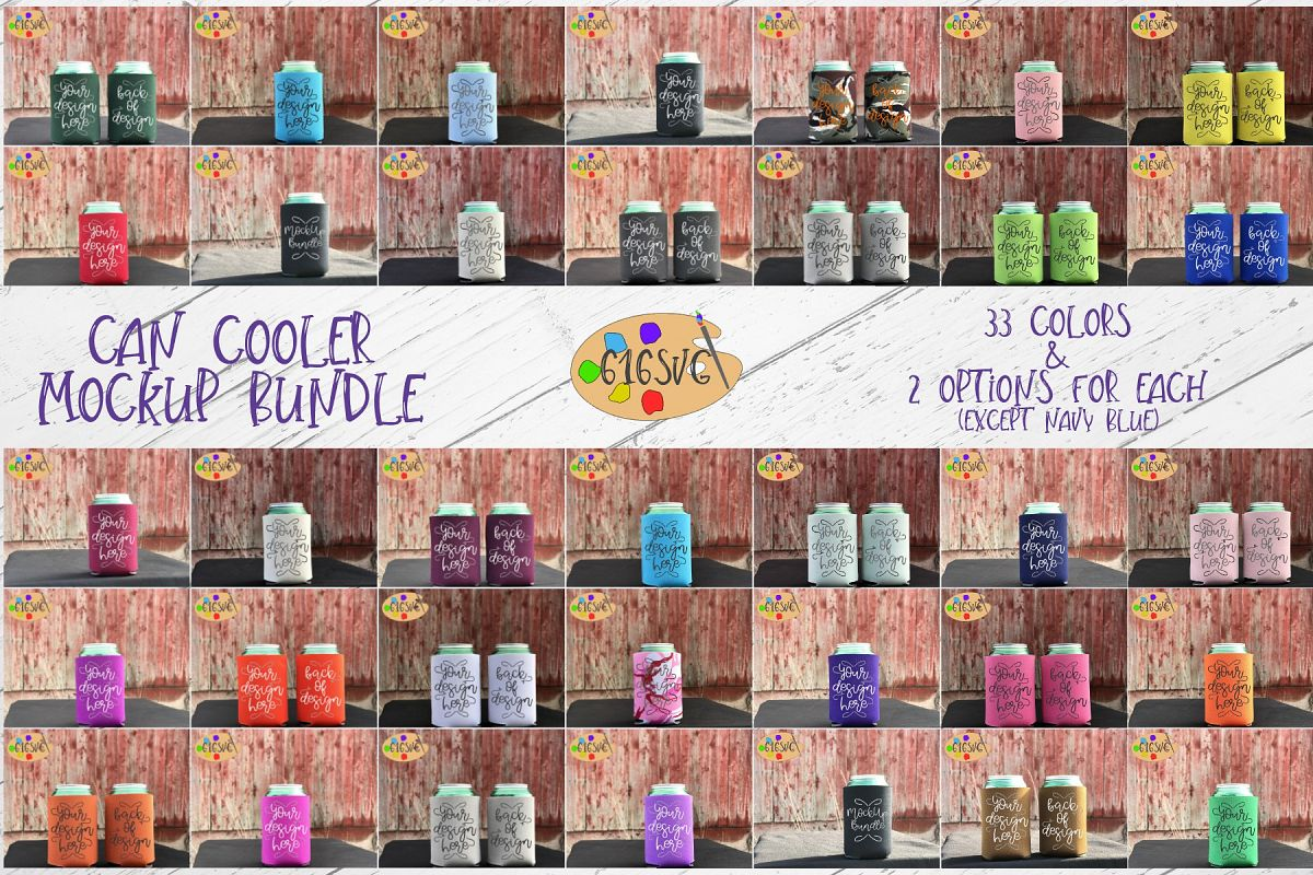 Can Cooler Mockup Bundle 33 Color Choices example image 1