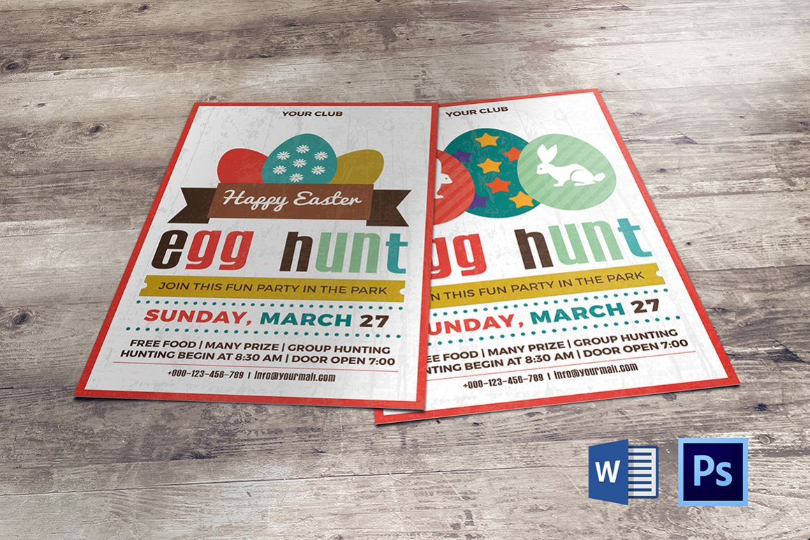 Easter Egg Hunt Party Flyer/Invitation Template  example image 1