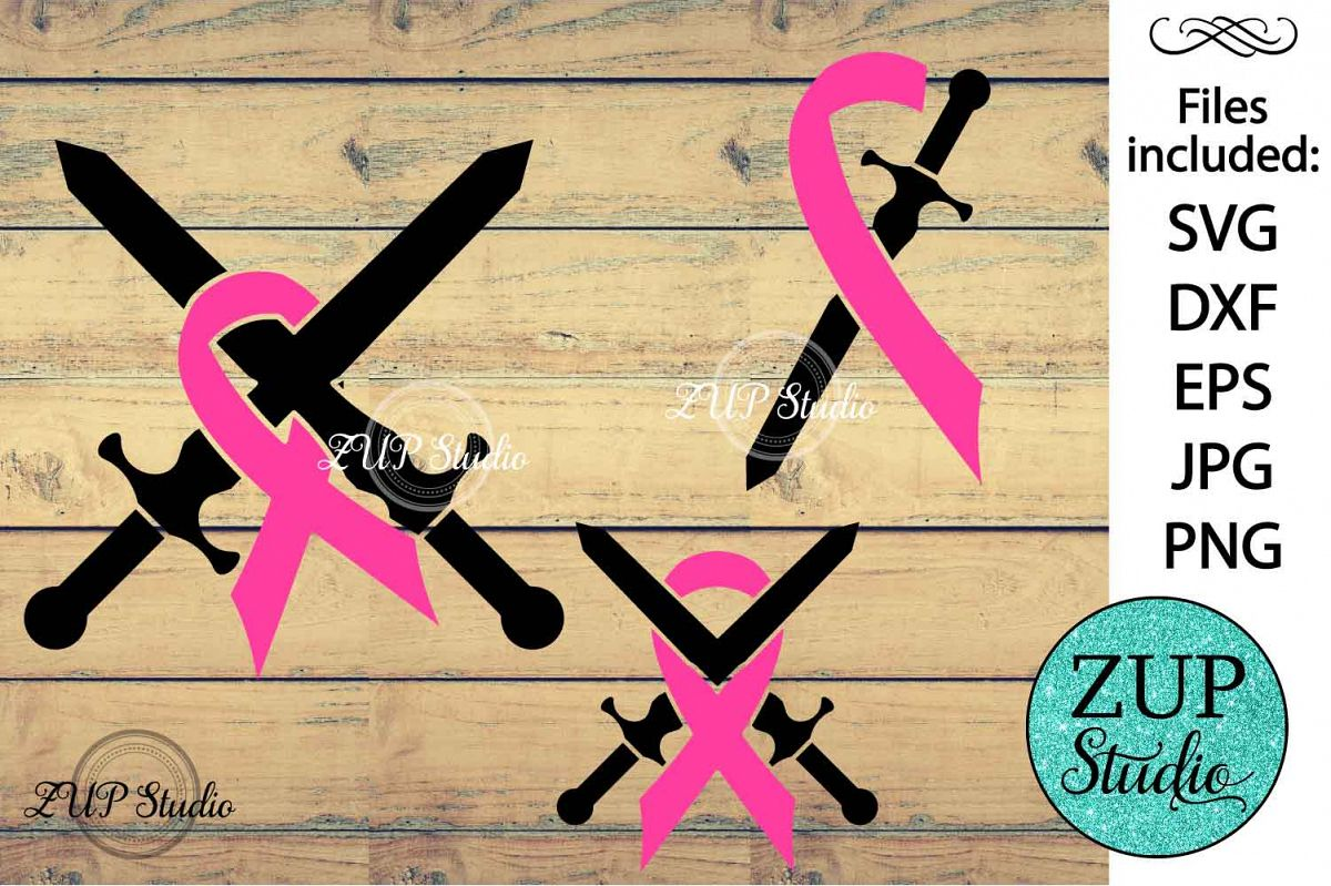 Breast Cancer Ribbon cutting files svg 7 example image 1