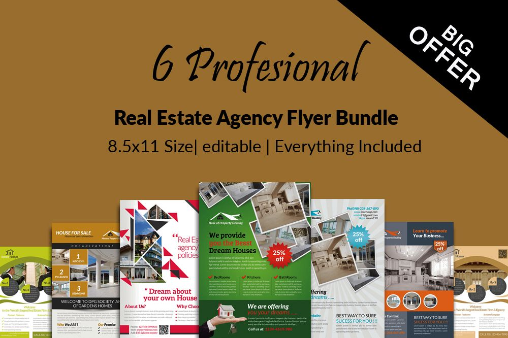 6 Real Estate Agency Flyers Bundle example image 1