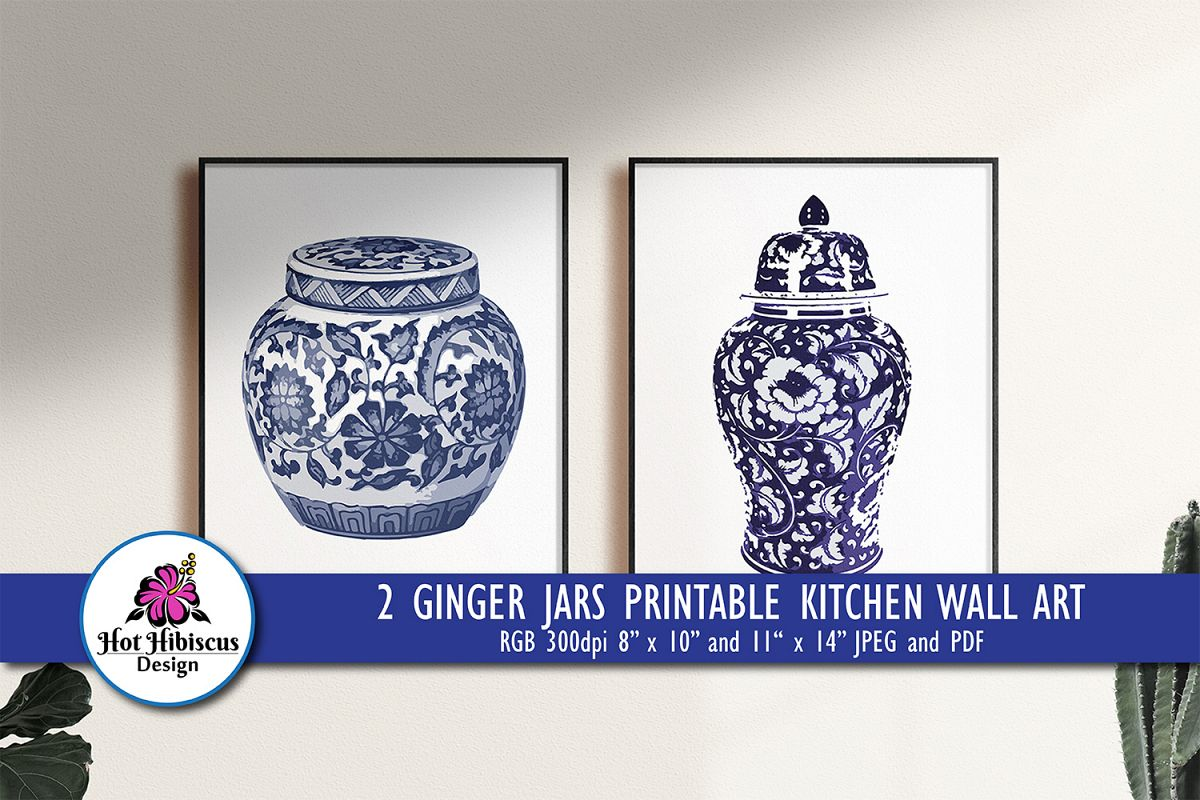 Indigo Blue and White Printable Kitchen Ginger Jar Wall Art example image 1