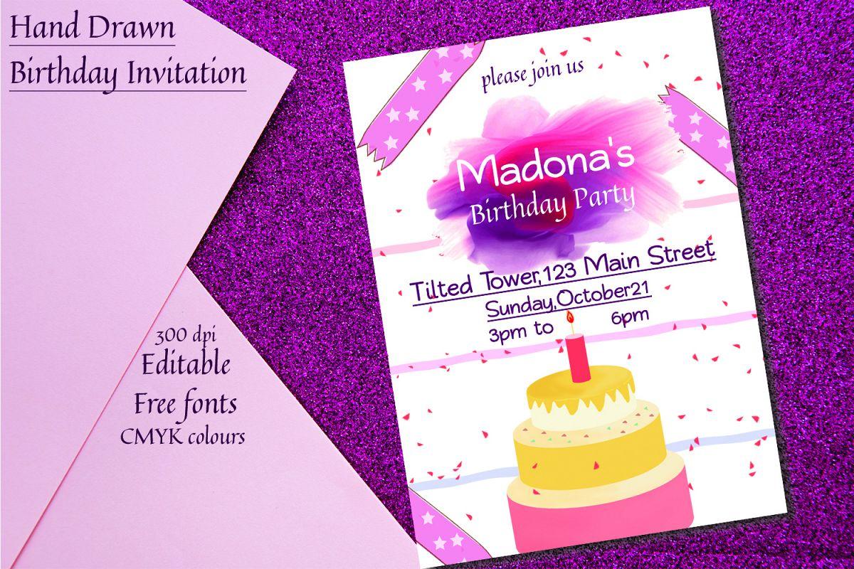 Hand Drawn Birthday Invitation example image 1