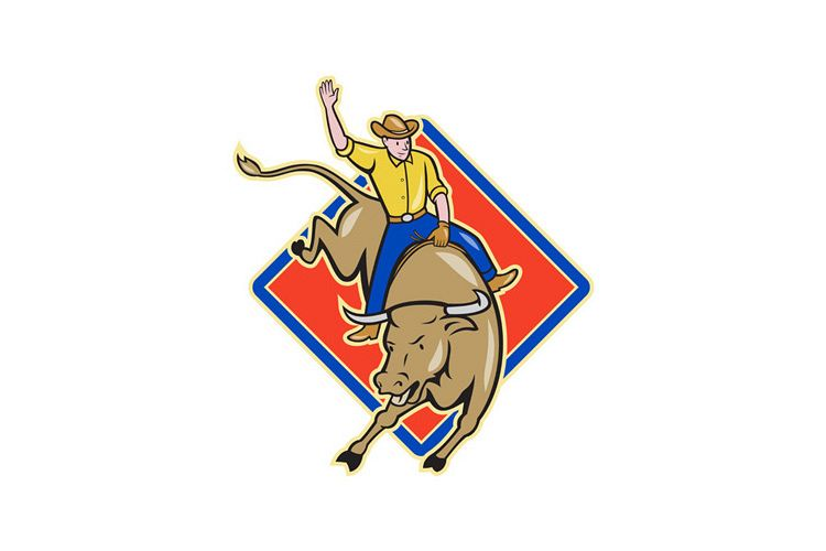 Rodeo Cowboy Bull Riding Cartoon example image 1