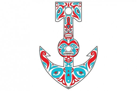Anchor Totem Pole Northwest Coast Art example image 1