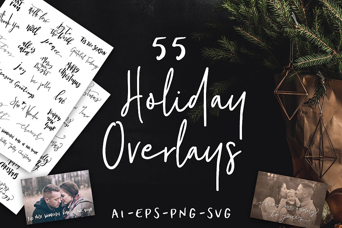 55 Hand Lettered Holiday Overlays example image 1