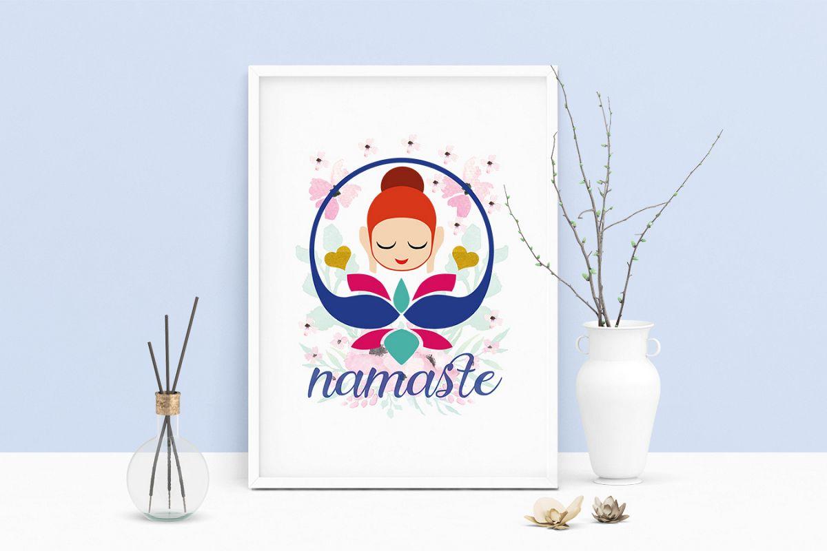 Printable Art Saying Namaste Lotus Buddha Yoga, Wall Art