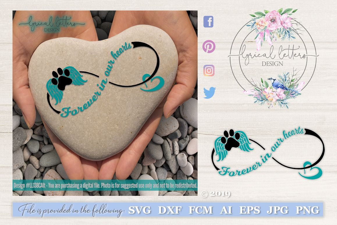 Forever In OUR Hearts Dog Memorial SVG Cut File LL138C Alt example image 1