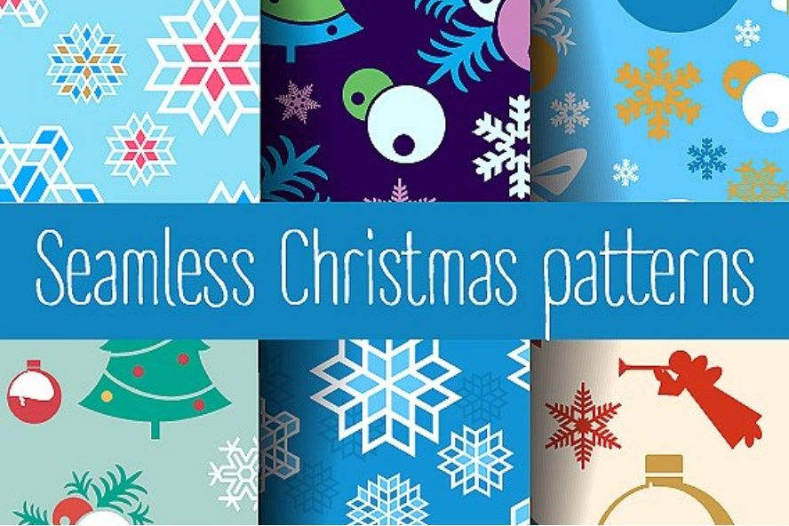 Scrapbooking Christmas seamless pattern example image 1