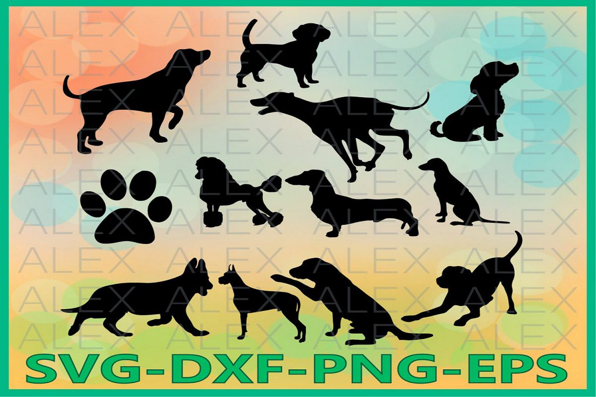 Dog Svg, Silhouette Digital Clipart, Dog Cut Files example image 1